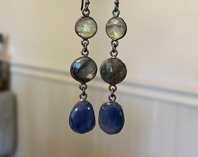 Labradorite and blue sapphire earrings