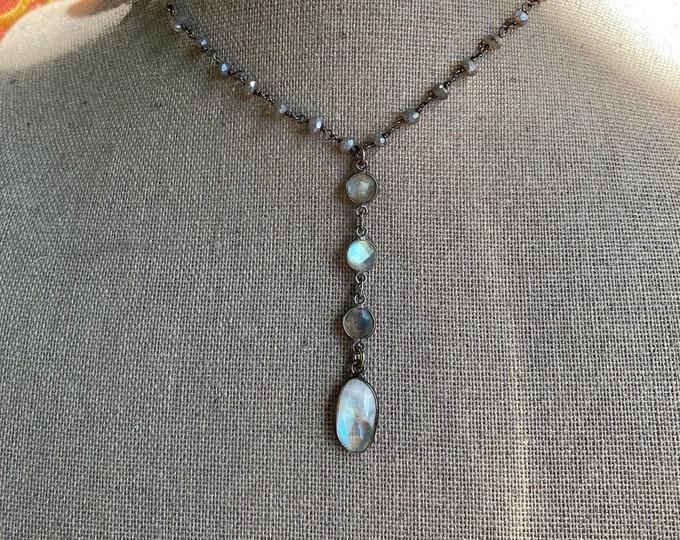 Moonstone and labradorite choker length necklace