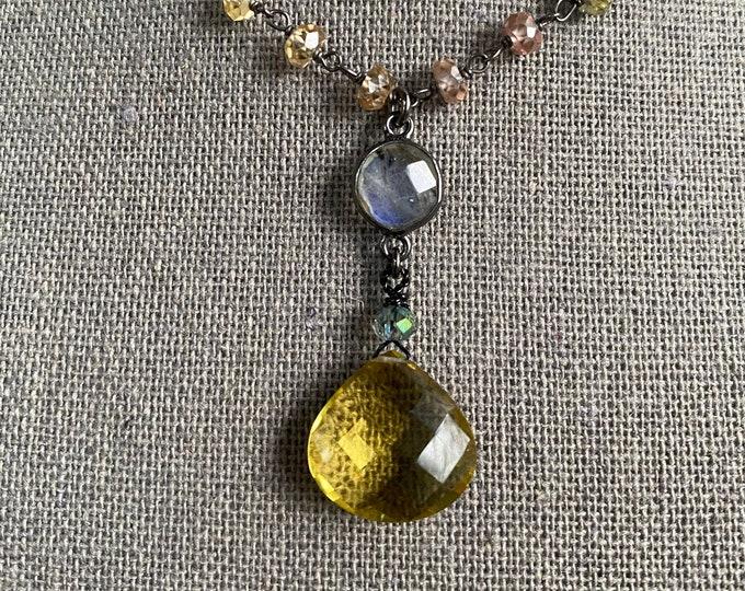 Lemon Citrine pendant on natural Zircon gem chain