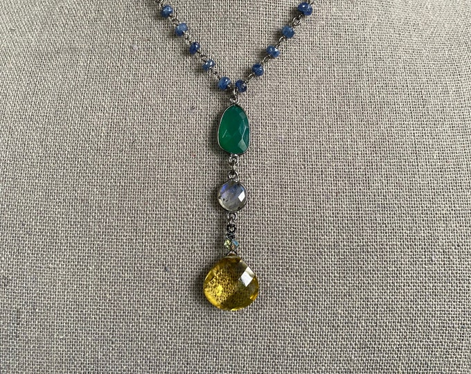 Yellow Citrine and Green Onyx Pendant Necklace