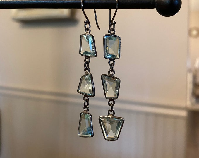 Angular Aquamarine triple drop earrings