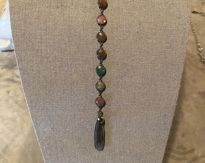 Labradorite teardrop pendant from moss agate drop necklace