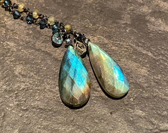 Double Labradorite pendant with London blue topaz and grossular garnet chain