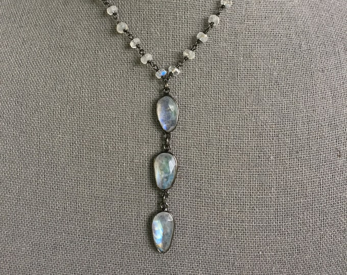 SOLD! This item is no longer available. Rainbow Moonstone Triple drop necklace
