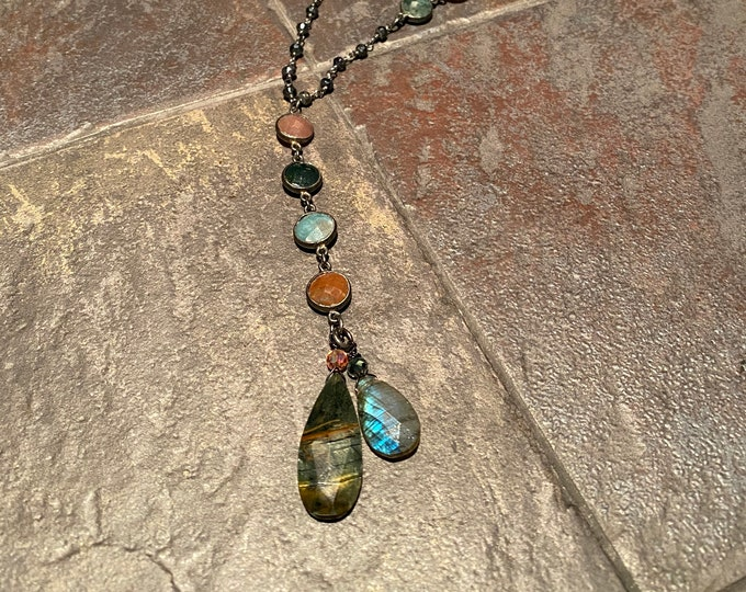 Black Tiger eye and Labradorite pendant with Moss Agate necklace