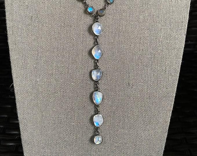 Rainbow Moonstone Dramatic Drop Necklace