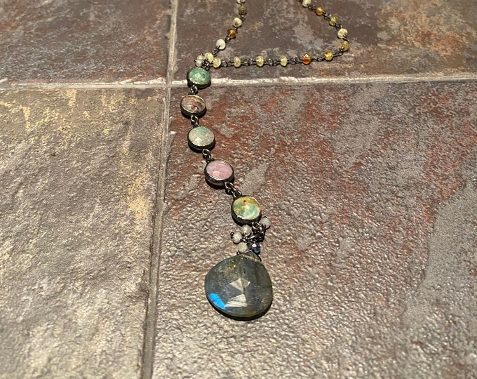 Labradorite heart shaped pendant with moss agate and grossular garnet chain