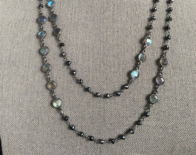 Labradorite and Black Spinel necklace