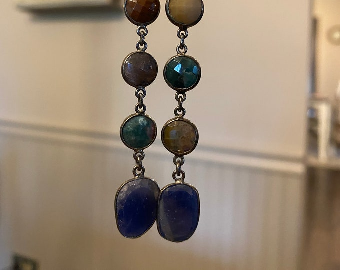 Moss agate and blue sapphire earrings