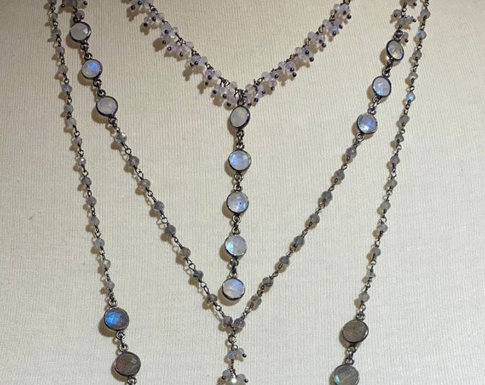 Labradorite and moonstone variation necklace