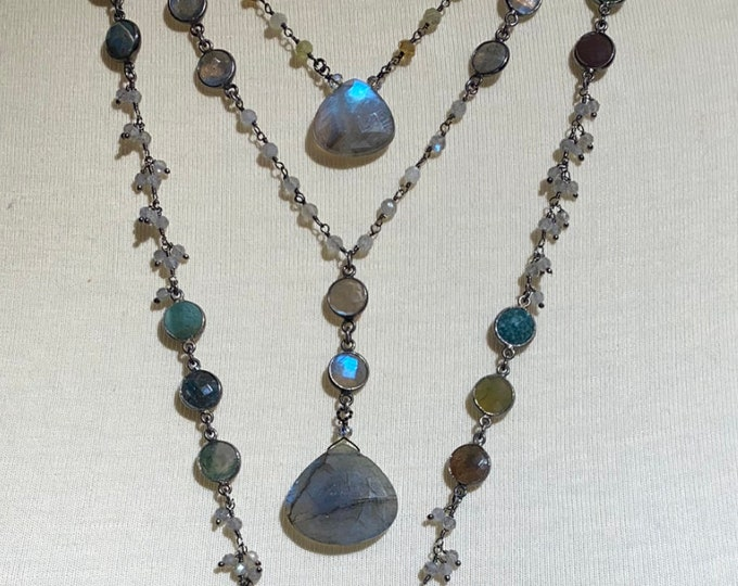 Labradorite and moss agate triplet necklace