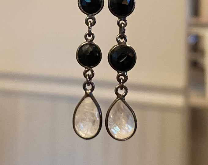 Black Spinel and teardrop Moonstone earrings