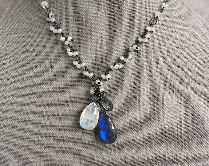 SOLD! This item is no longer available. Labradorite and Rainbow Moonstone pendant necklace