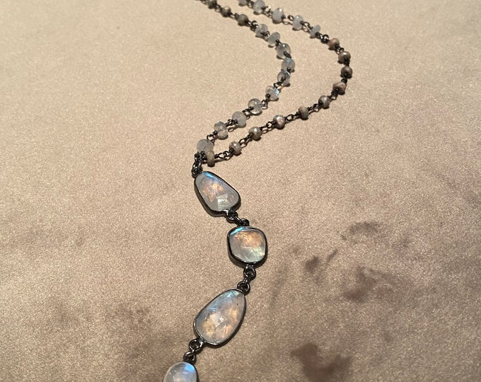 Rainbow Moonstone bezel set drop necklace