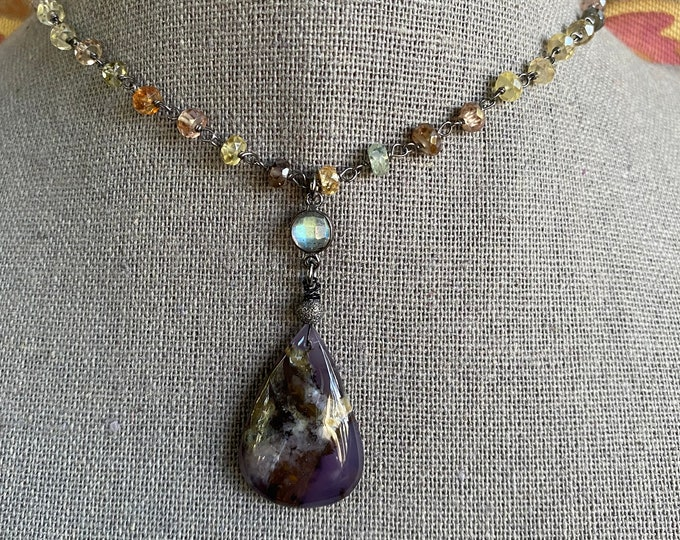 """Amethyst Agate and Natural Zircon Gem Tassel Necklace 18"""""""