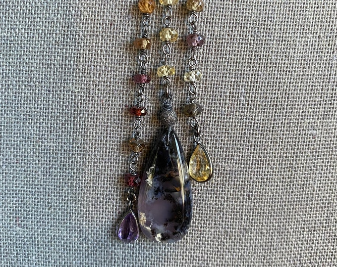 Amethyst Agate and Natural Zircon Gem Tassel Necklace