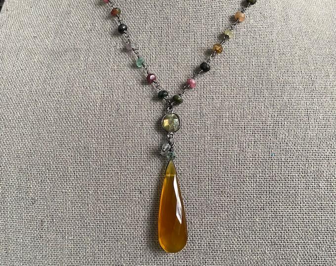 Carnelian Teardrop on Tourmaline chain necklace