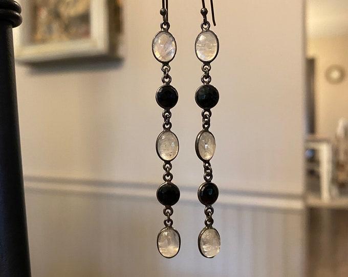 Rainbow moonstone and black spinel drop earrings