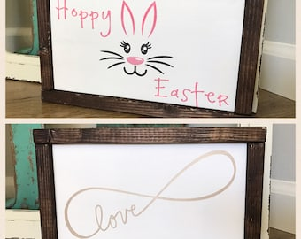 Valentine's Day Sign - Easter Sign - Double Sided Holiday Sign - Hoppy Easter - Bunny Decor - Infinity Love - Love - Valentines Day - Easter