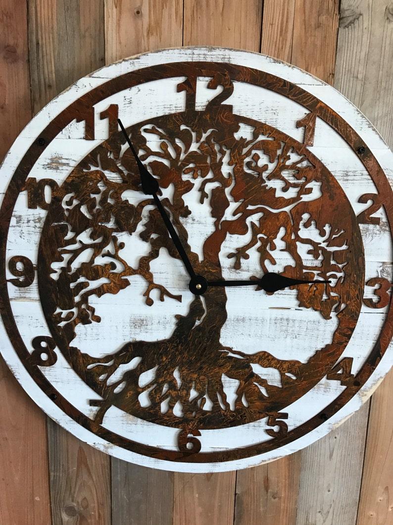 70f48df19af Pallet Wood Clock Wood and Metal Clock Wooden Clock Wood
