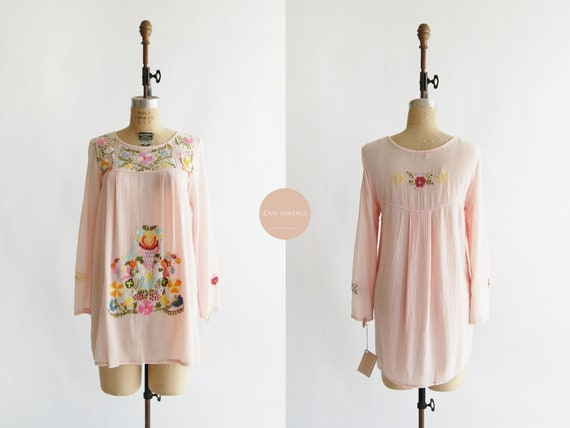 Summer Phrases Dress | vintage | pink embroidery c