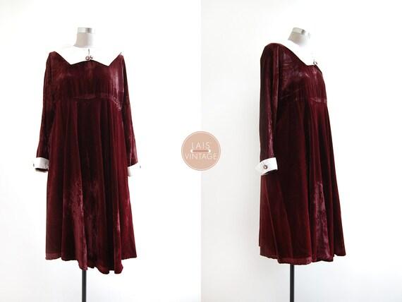 Rosywood Dress | xl | 70s korea vintage | burgundy