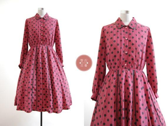 Polka Chinoise Dress | m/l | 1970s japan vintage |