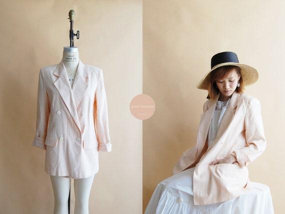 Rosalie Linen Blazer | french vintage | pale pink
