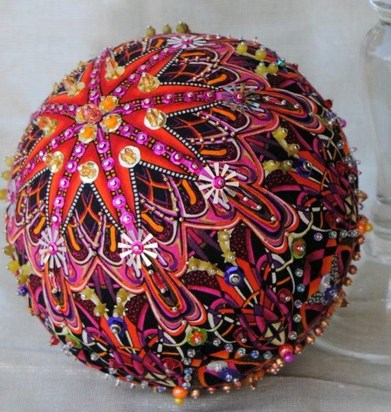 6 Opulent ONE OF A KIND sequined /& beaded ornament using Paula Nadelstern fabric