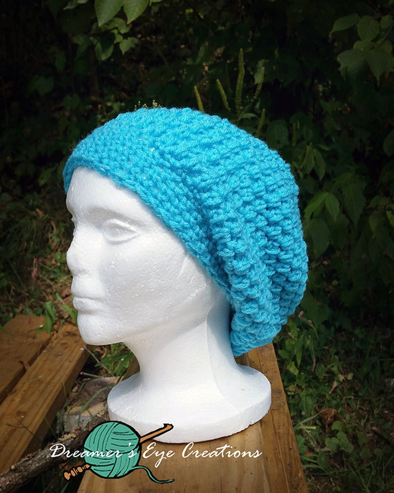 aba6ec97f3e Teal Slouch Hat Crochet Hat Puff Stitch