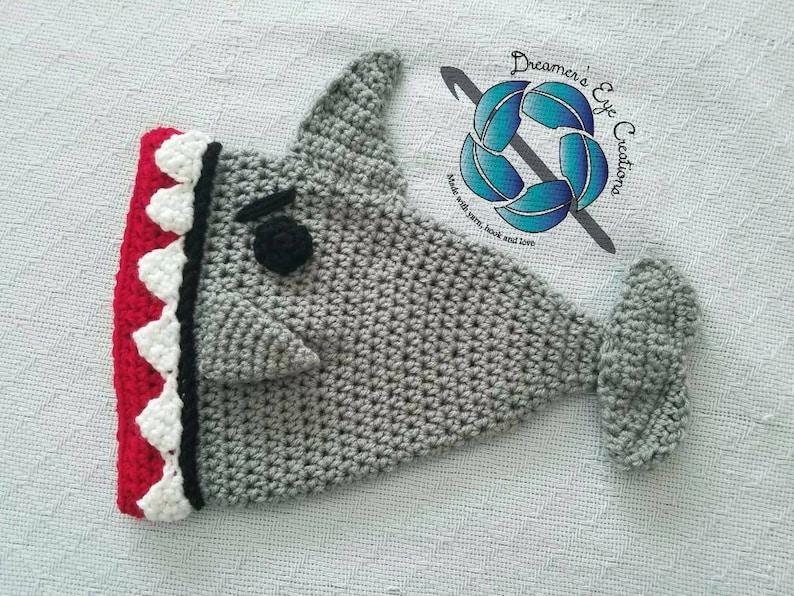 d44cda0bc9b Crochet shark hat angry shark baby shark scary flying shark