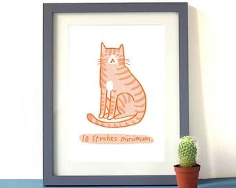 10 Strokes Minimum Cat Print