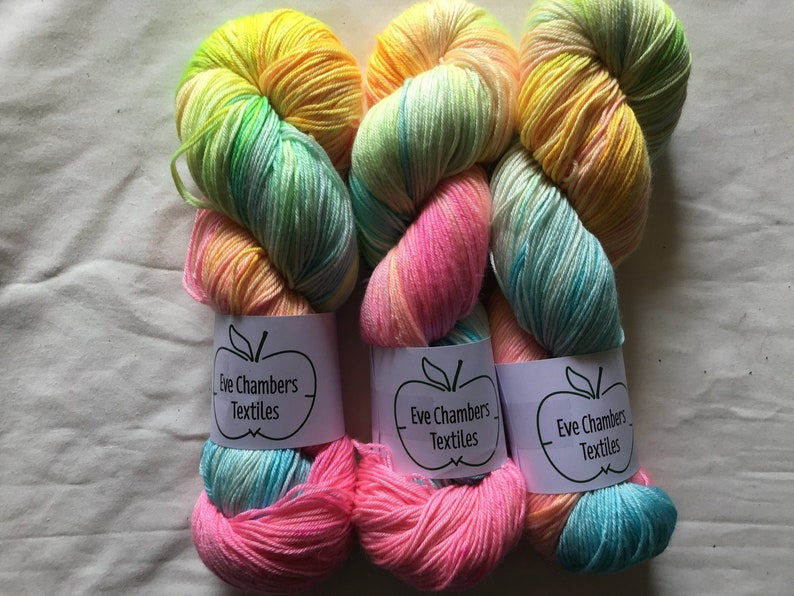 pastel bright colors on hand dyed yarn by eve chambers textiles in west cork ireland