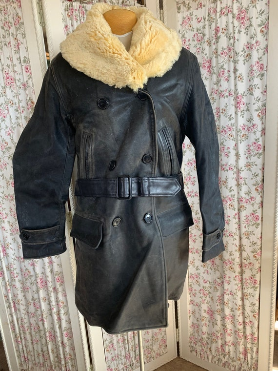 1920's horsehide shearling lined barnstormer coat.