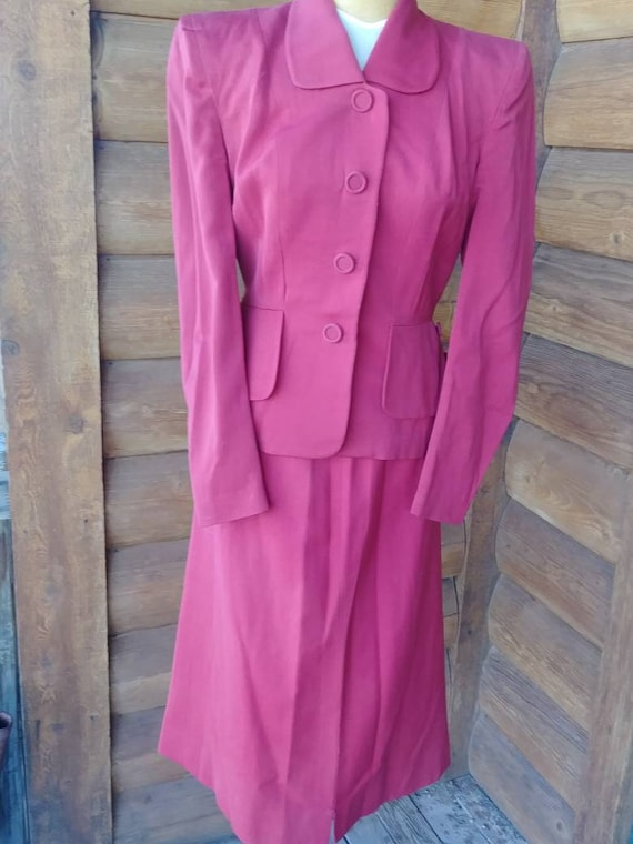 1940's really red peplum suit. Small.