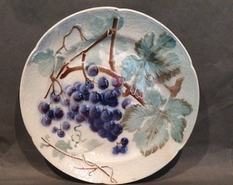 6 Different Plates w/Cherries, Grapes, Raspberries, Peaches, Pears Antique Majolica transferware