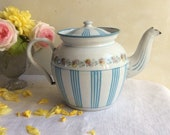 Rare Antique French BB Enamel Tea Pot, iconic turquoise stripes and roses quot théière quot , like new