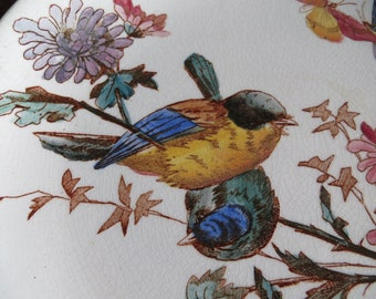 Faïence Birds and Flowers Antique Choisy le Roi Small Plate