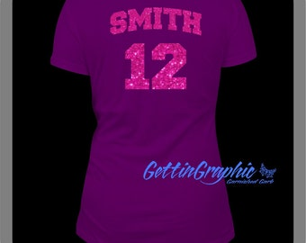Add a Glitter name and number to back of shirt
