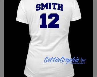 Add a name and number to back of shirt