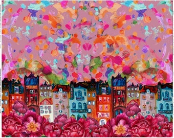 Baumwoll-Jersey Panel Stenzo Hirsch Eule Vögel Blumen bunt 120 cm x 150 cm