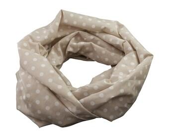 Damen-Loopschal Rundschal Schlauchschal Punkte Tupfen beige weiß -  ca. 25 cm x 140 cm - 100% Baumwolle