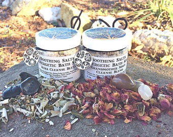 Soothing Salts Energetic Blends with Crystal, Bath Soaks 4 oz.