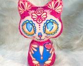Medium Dia De Los Muertos plush kitty (pink version)