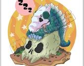 Sleepy Kaiju Skullcrawler mini print