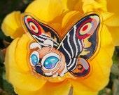 Heckin' Chonker Mothra - clear acrylic pin