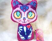 Medium Dia De Los Muertos plush kitty (purple version)