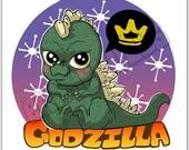 Chibi Godzilla mini print