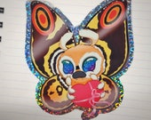 Fluttery Valentine glittery Kaiju sticker