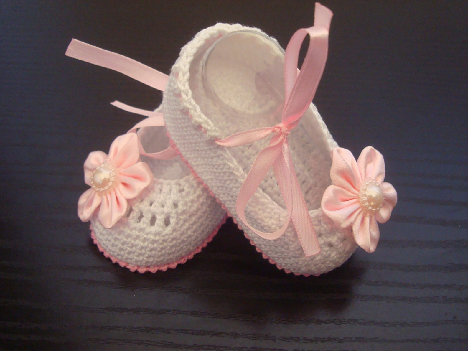 white crochet baby girl booties - ballet slippers - flower shoes. ready to ship!